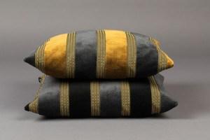 Samtkissen gold-grau oder schwarz-grau mit Inlay 45 x 45 cm