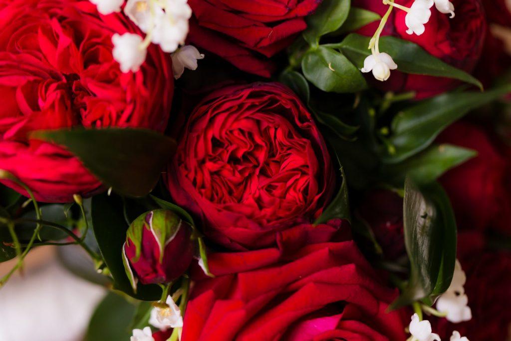 Een prachtig rood bruidsboeket met pioenrozen.