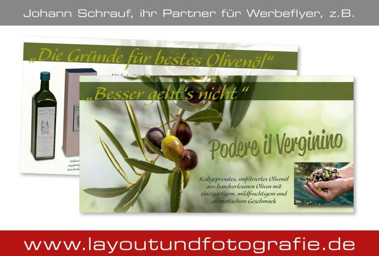 Werbeflyer für hochwertiges Olivenöl