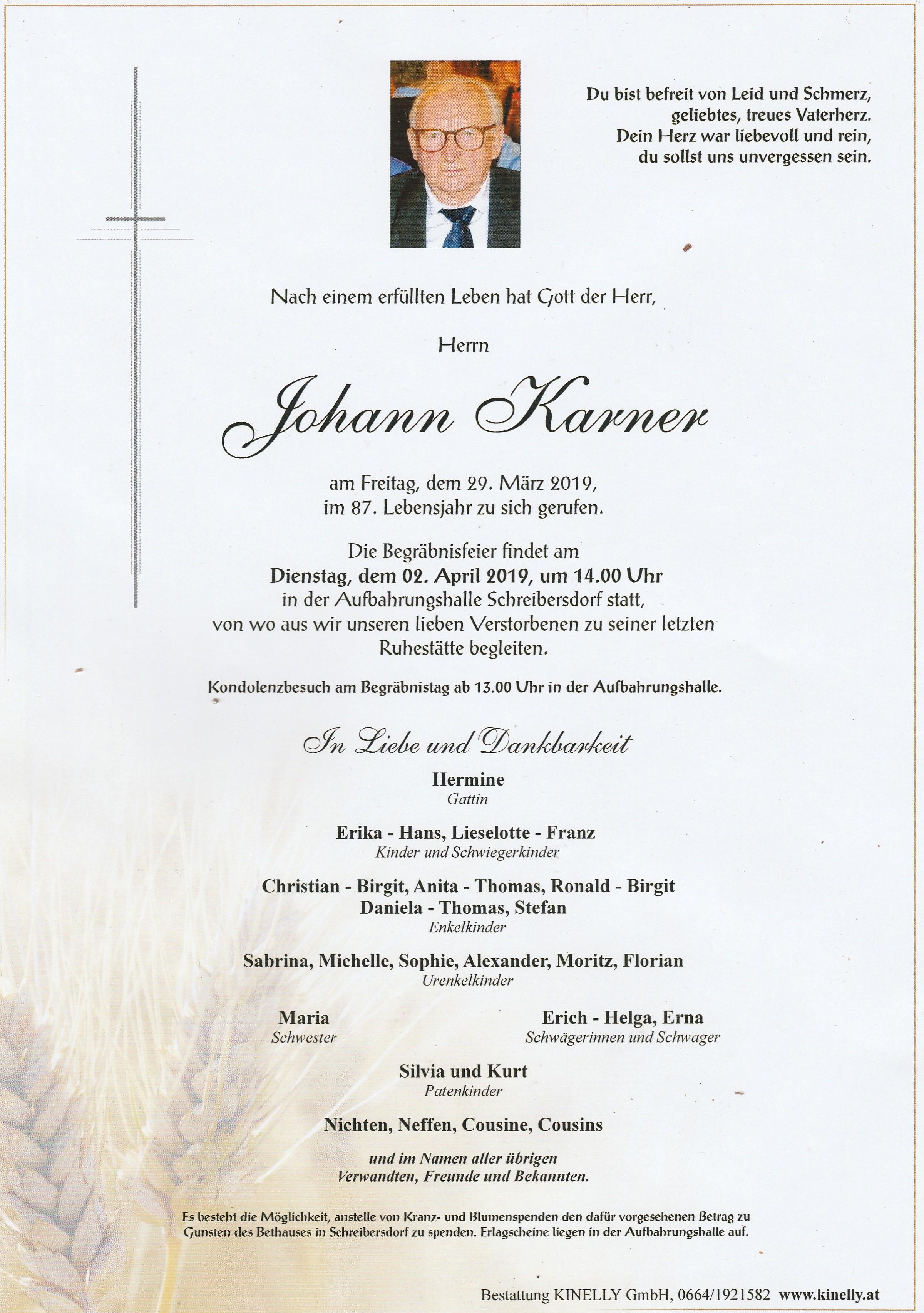Begräbnis Johann Karner