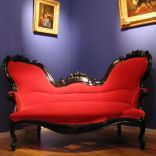 Dutch 19th century ebonised antique sofa in rococo style