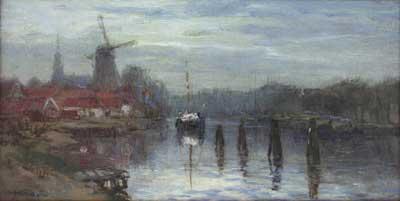 Johan Hendrik van Mastenbroek (Rotterdam, 1875 – 1945) Zicht op Molen de Adriaan aan het Spaarne te Haarlem. Gesigneerd en gedateerd 1917 Olie op doek, 18 x 35 cm