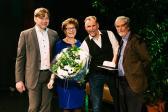 Vlnr. Jeroen Dahmeijer, Wethouder Marga de Goeij, Dirk den Hoed en Wethouder Govert van Oord