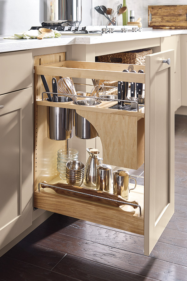 Base Utensil Pantry Pullout Cabinet with Knife Block  Schrock