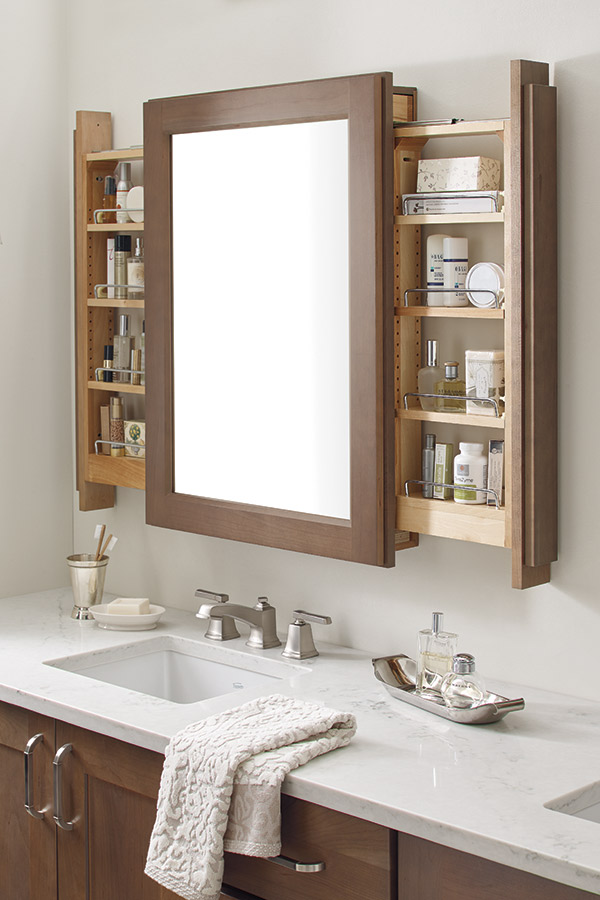 Vanity Mirror Cabinet with Side Pullouts  Schrock