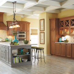 Colored Kitchen Islands Best Appliances Cherry Cabinets With A Gray Island Schrock