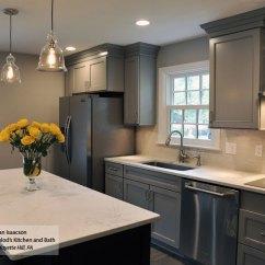 Blue Kitchen Island Designs Layouts Gray Cabinets Dark Schrock And