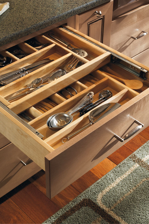 Solid Wood Tiered Cutlery Divider  Schrock Cabinetry