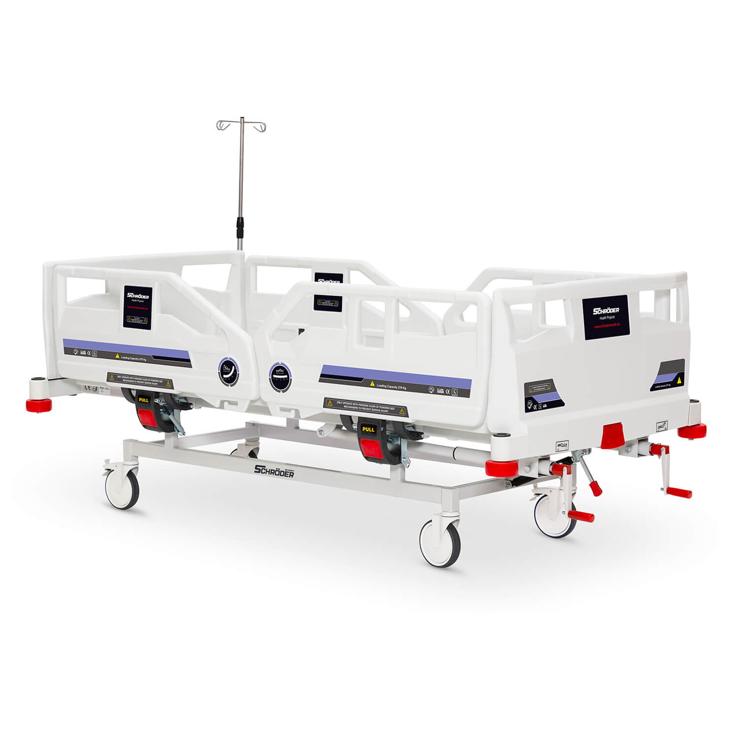 Plastic Mechanical Operated Hospital Bed, 2 Cranks