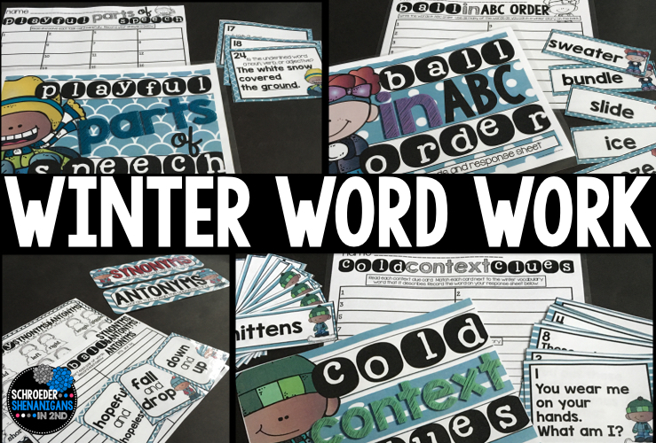 winter word work activities with a freebie sample abc order
