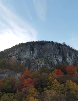 looking up at a cliff in the fall
