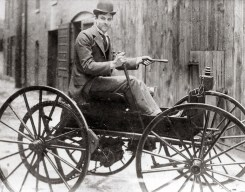 J.D. Perry Lewis built this battery-powered horseless vehicle, the first in St. Louis. His story is just one of the 50 Moments featured in the 250 in 250 exhibit, opening Feb.14, 2014. Photograph, ca. 1893. Missouri History Museum