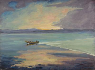 Flat Calm with a High-prowed Boat, c. 1925.