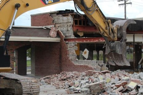 Tearing down the east wall