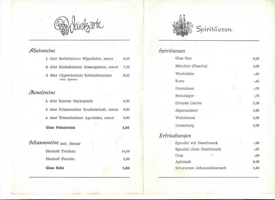 Speise und Getrnkekarte Karneval 1969  Schtzenverein Heggen