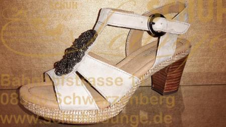 Sandalette von Gabor aus weichem Nubukleder mit 45 mm Adsatzplateau.