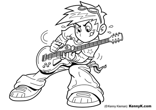 Malvorlage  Gitarre spielen