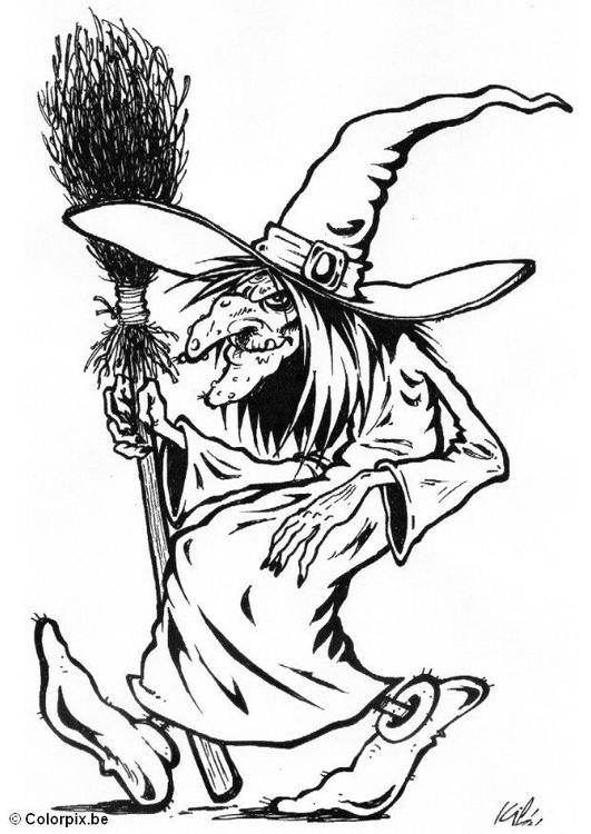 Malvorlage 02 Halloween Hexe - Kostenlose Ausmalbilder Zum