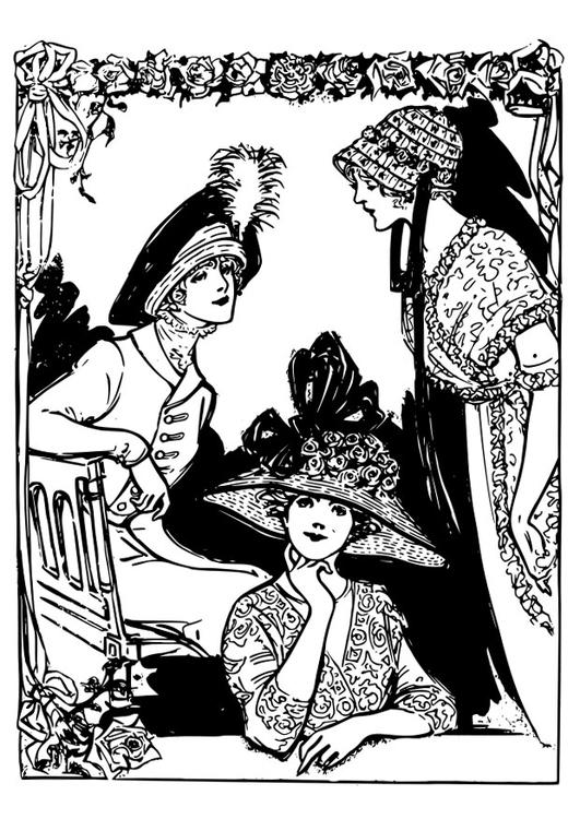 Malvorlage 2 Frauen mit Hüten - Kostenlose Ausmalbilder