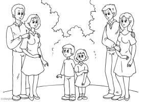Malvorlage 3. Eltern mit neuen Partnern   Kostenlose ...