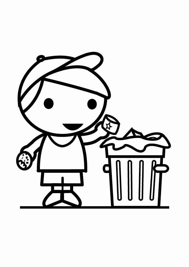 Malvorlage Abfall in den Abfalleimer werfen Ausmalbild