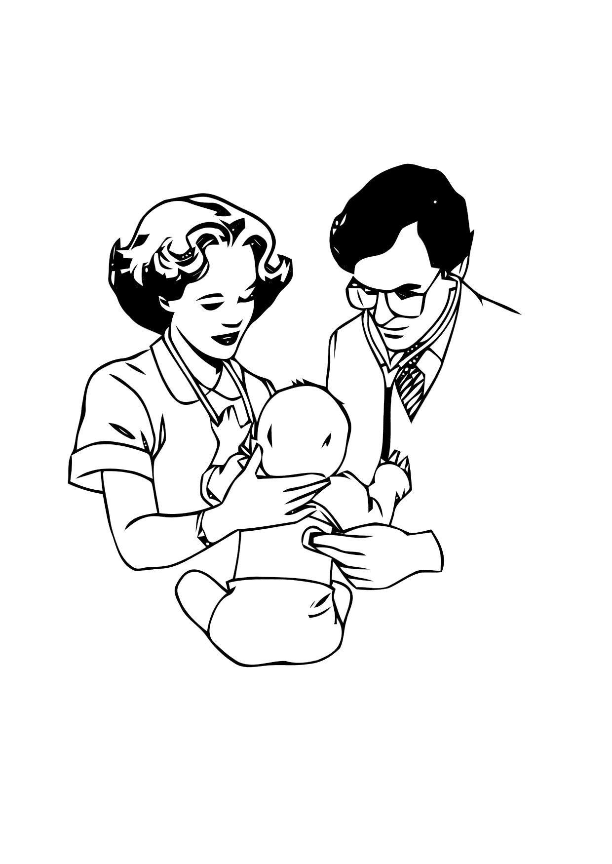 Malvorlage Arzt mit Baby Ausmalbild 12123