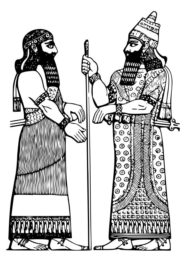 Malvorlage Assyrischer König - Kostenlose Ausmalbilder Zum