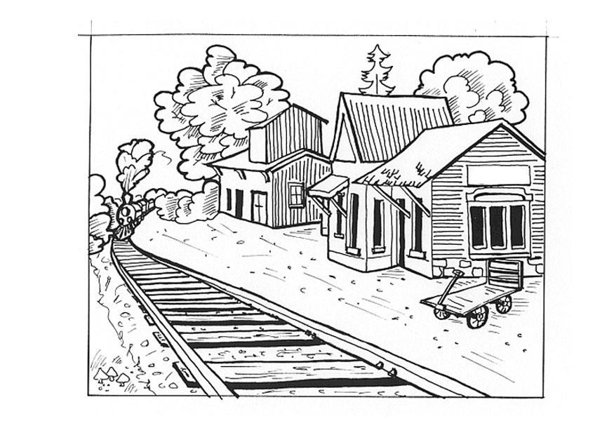 Malvorlage Bahnstation - Kostenlose Ausmalbilder Zum