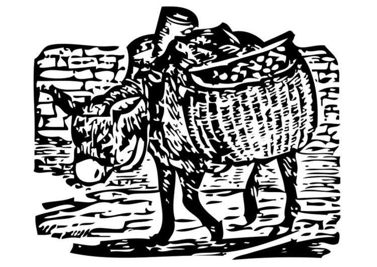 Malvorlage beladener Esel - Kostenlose Ausmalbilder Zum