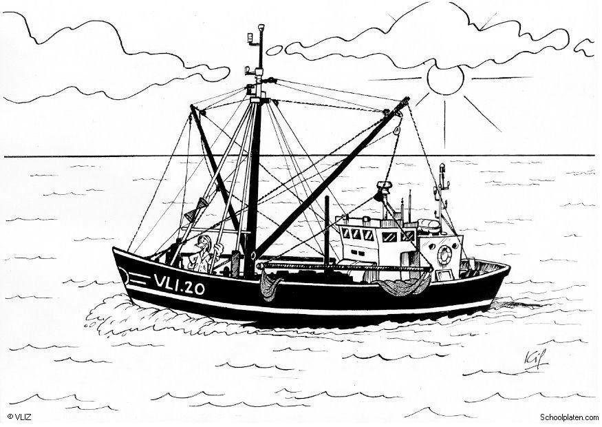 Malvorlage Boot Fischerboot - Kostenlose Ausmalbilder Zum