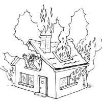 Malvorlage brennendes Haus   Kostenlose Ausmalbilder Zum ...