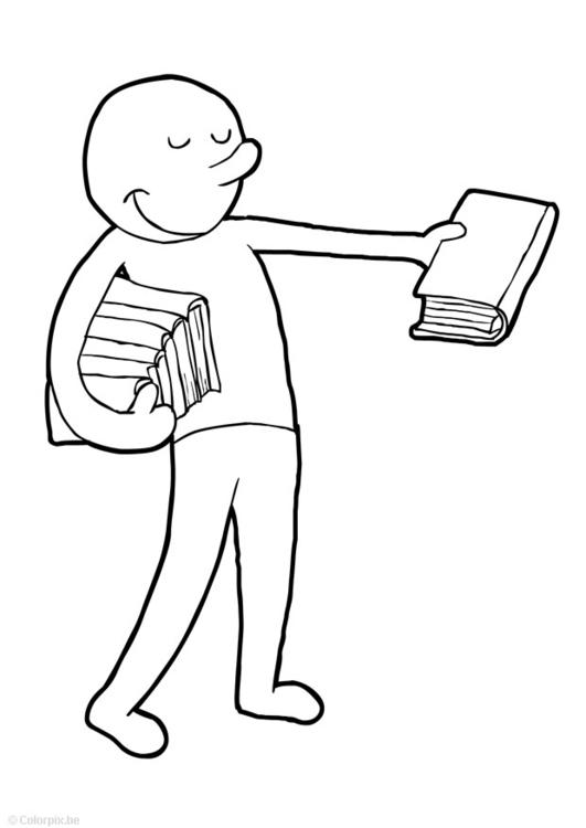 Malvorlage Bücher austeilen - Kostenlose Ausmalbilder Zum