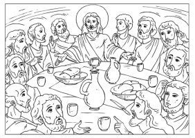 Malvorlage das letzte Abendmahl   Ausmalbild 25923.