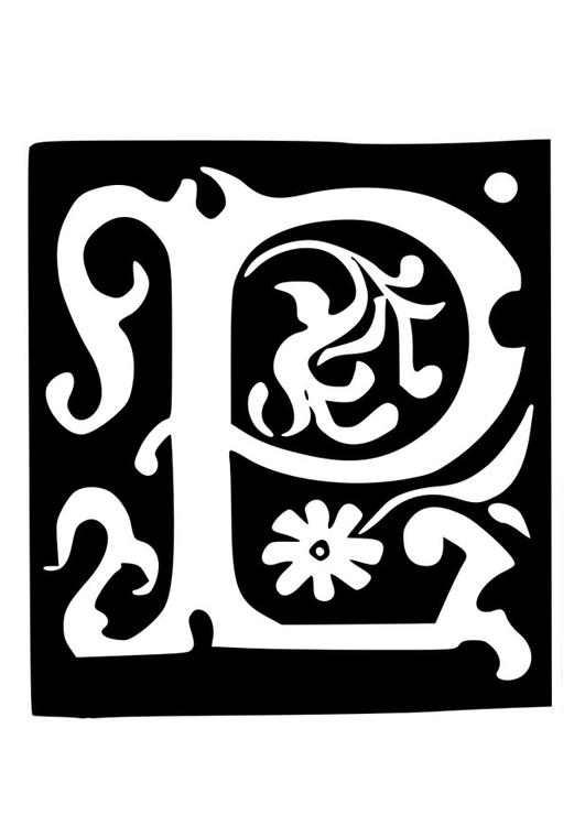 Malvorlage Dekorativer Buchstabe P Ausmalbild 19021