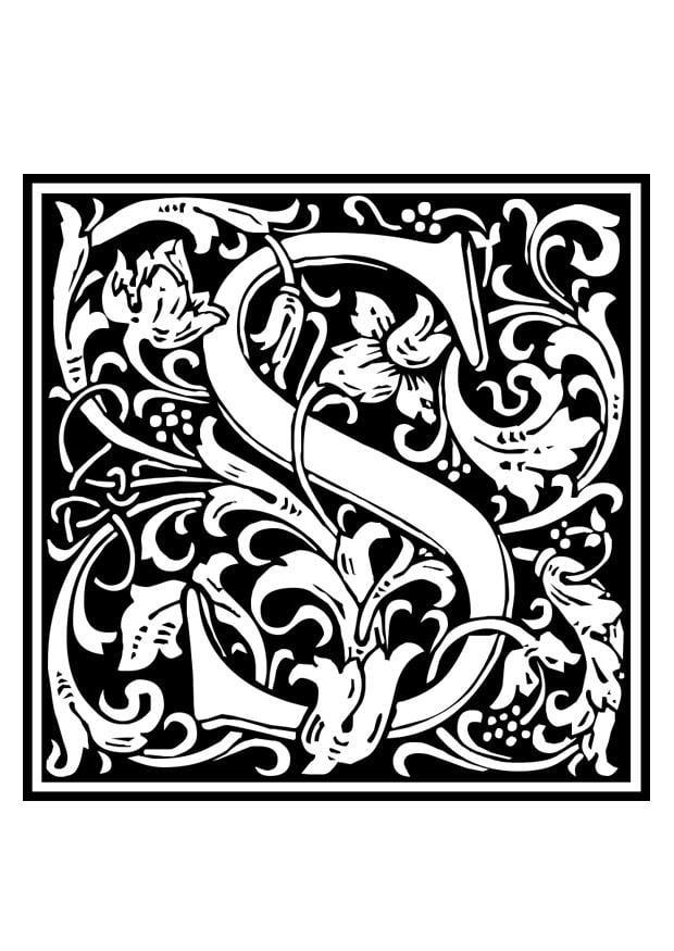 Malvorlage Dekoratives Alphabet - S Ausmalbild 28658