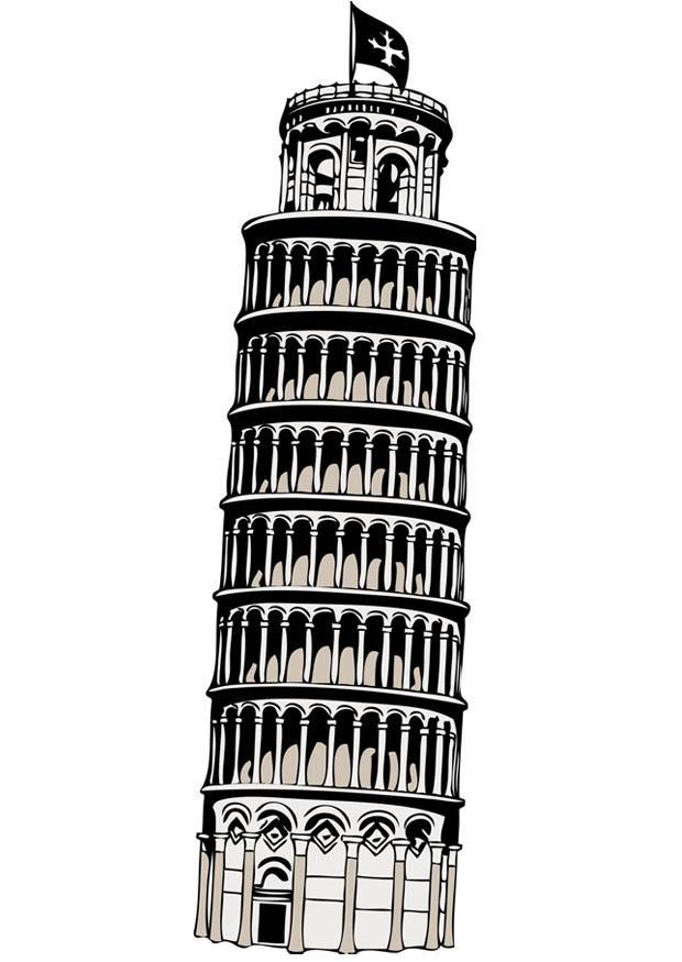 Malvorlage der Turm von Pisa  Ausmalbild 17085