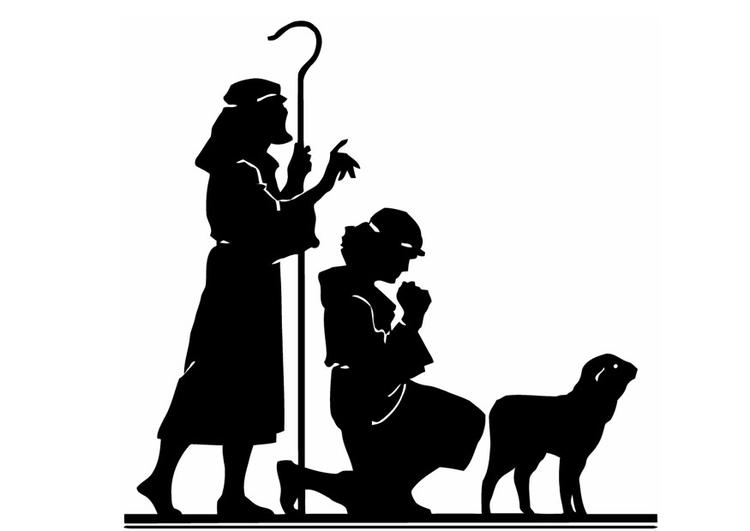 Malvorlage die drei Könige an der Krippe - Kostenlose