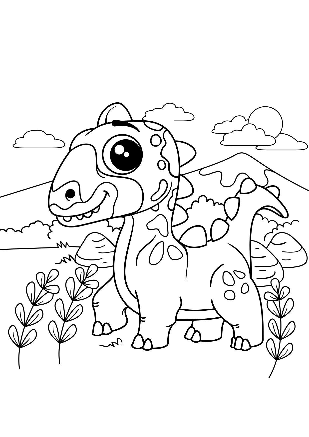 Malvorlage Dino unterwegs - Kostenlose Ausmalbilder Zum