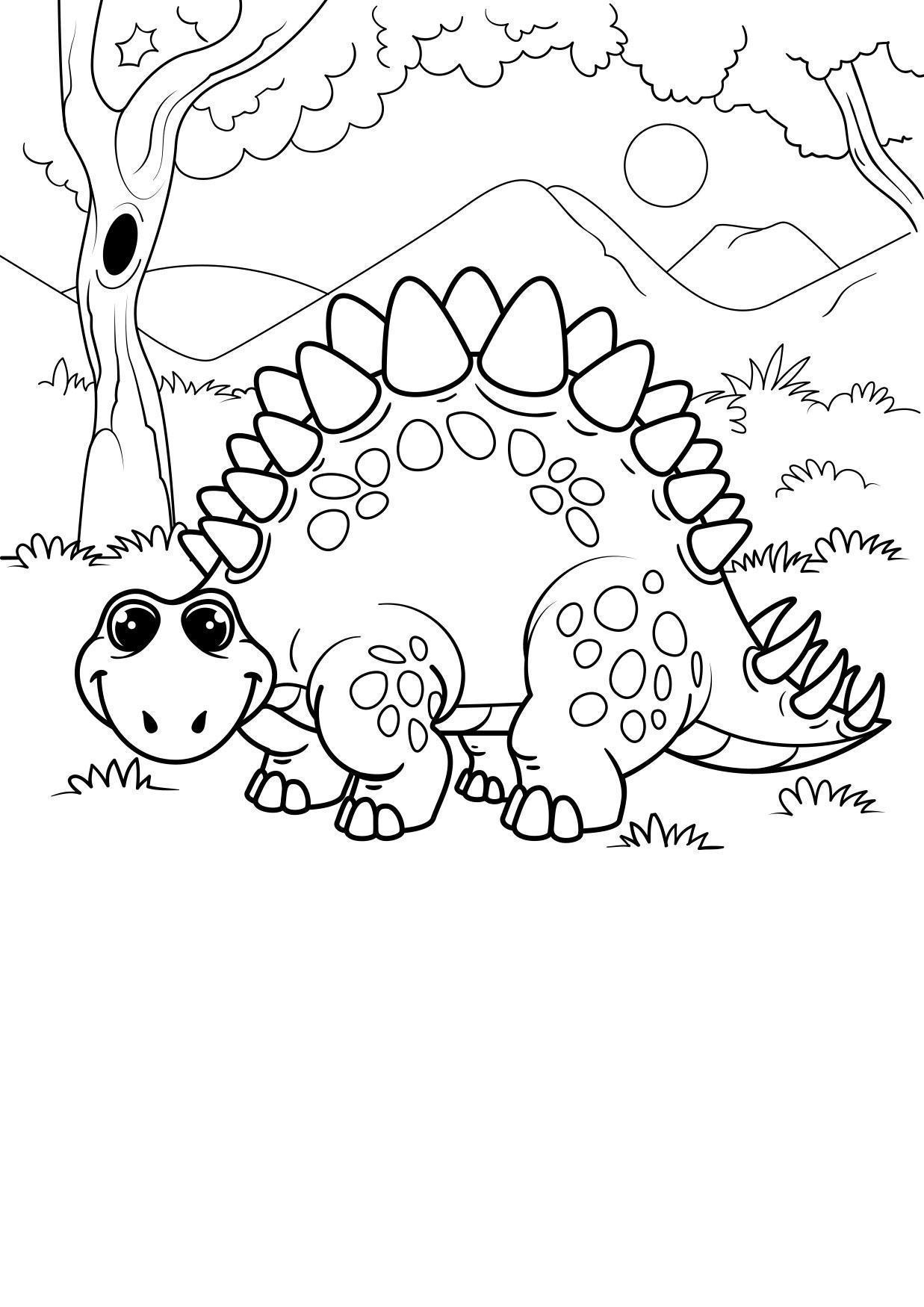 Malvorlage Dinosaurier im Wald - Kostenlose Ausmalbilder