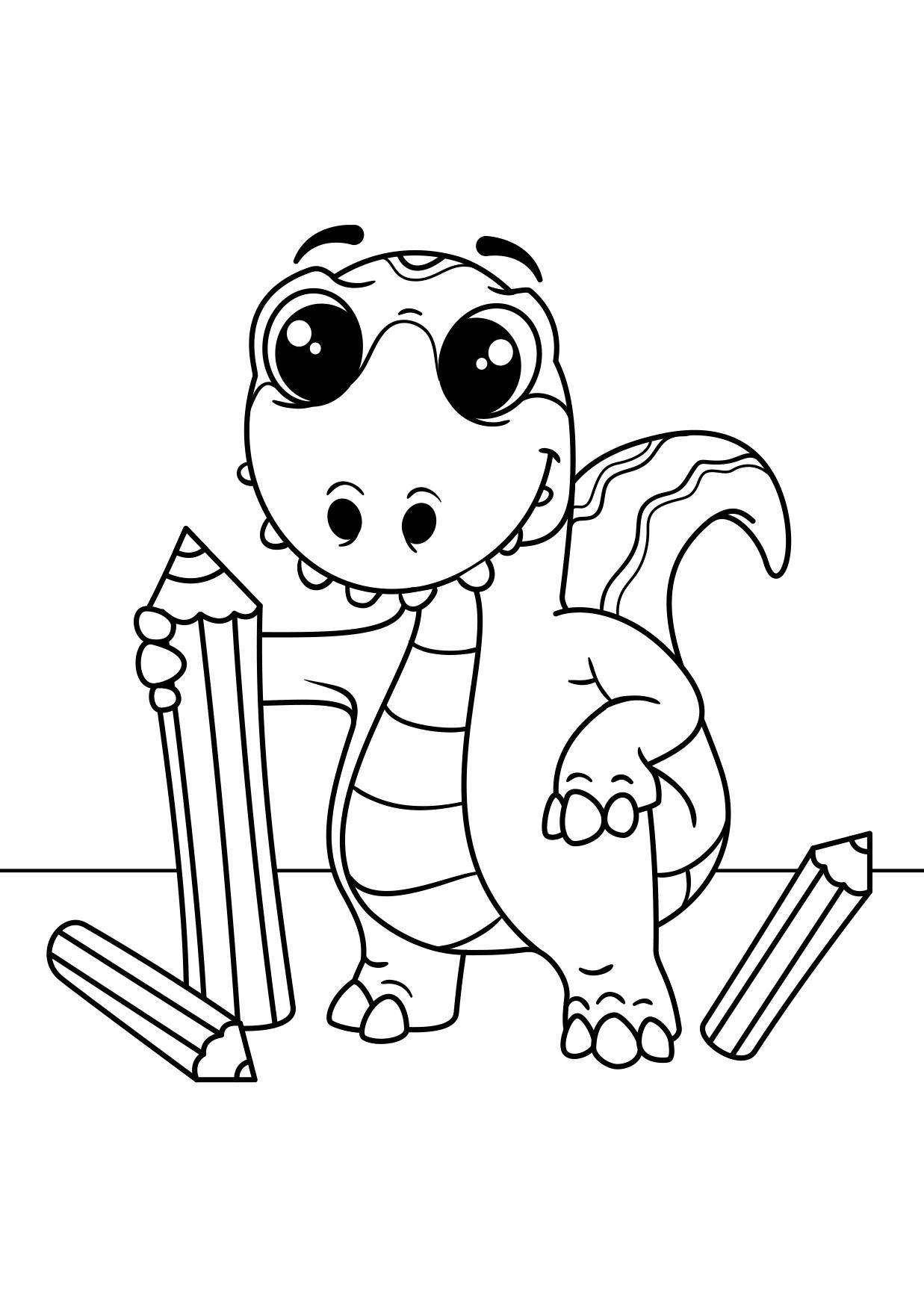 Malvorlage Dinosaurier zeichnet - Kostenlose Ausmalbilder