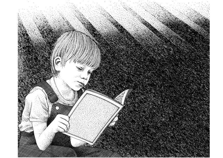 Malvorlage ein Buch lesen Ausmalbild 9386