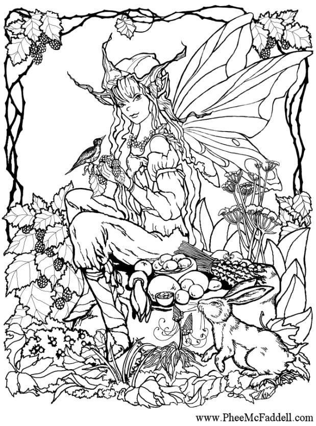 Malvorlage Elfe im Wald Ausmalbild 6906
