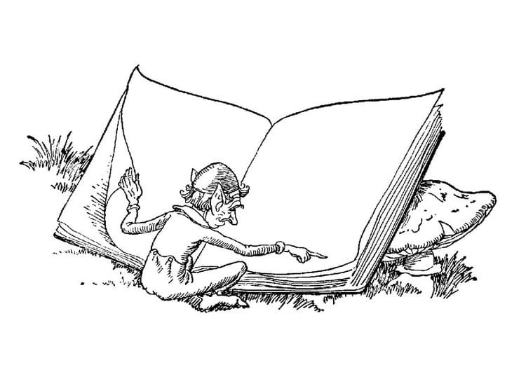 Malvorlage Elfe mit Buch - Kostenlose Ausmalbilder Zum