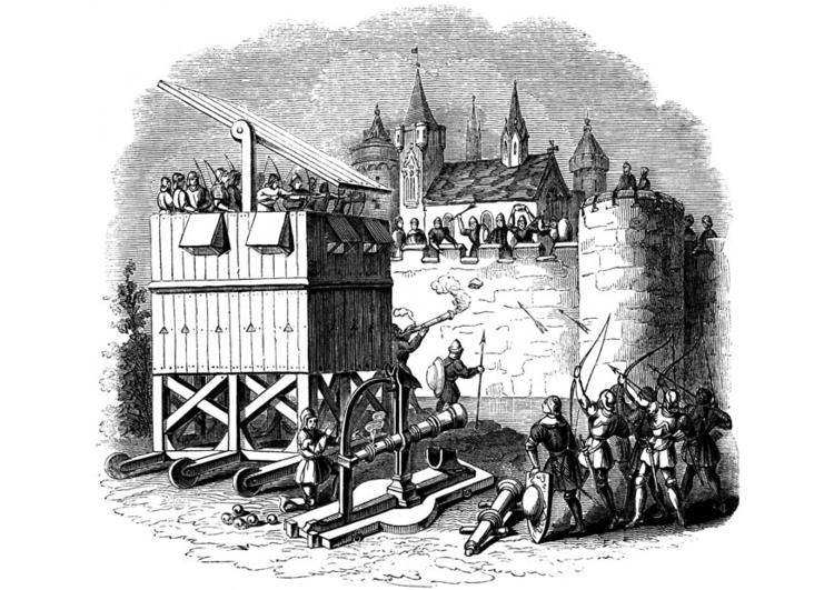 Malvorlage Erstürmung einer Burg - Kostenlose Ausmalbilder