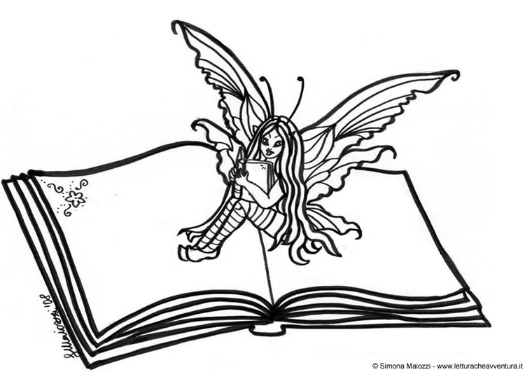Malvorlage Fee auf Buch - Kostenlose Ausmalbilder Zum