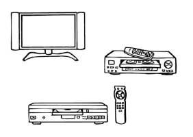 Malvorlage Fernseher, Videoplayer, DVD Player   Kostenlose ...