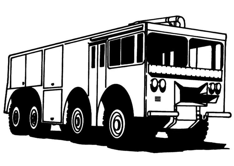 Malvorlage Feuerwehrauto - Kostenlose Ausmalbilder Zum