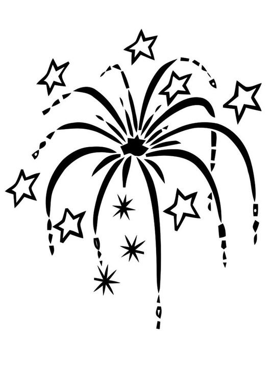 Malvorlage Feuerwerk - Kostenlose Ausmalbilder Zum
