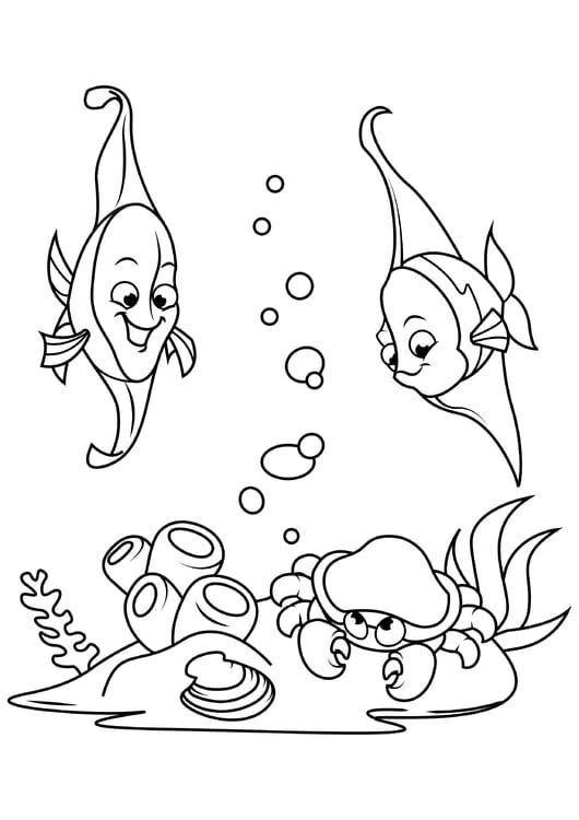 Malvorlage Fisch im Meer mit Krabben - Kostenlose