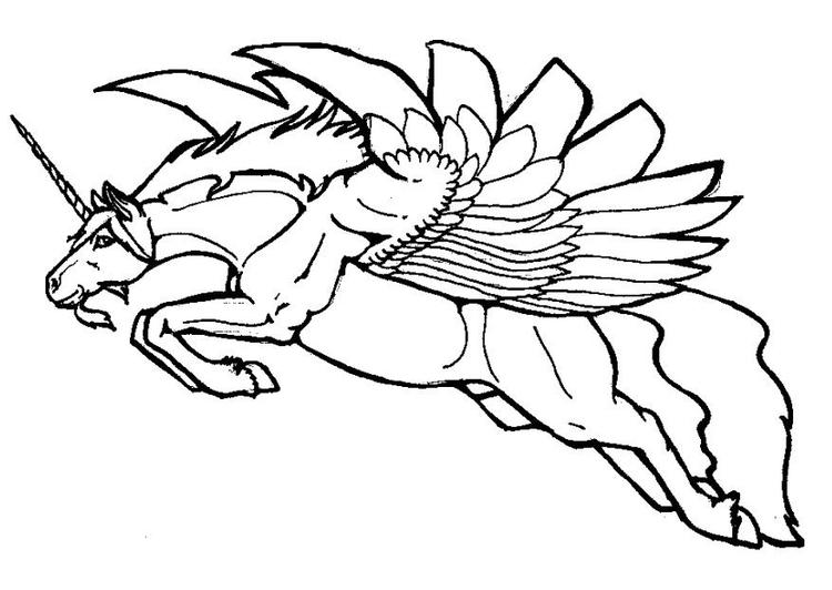 Malvorlage fliegendes Einhorn - Kostenlose Ausmalbilder